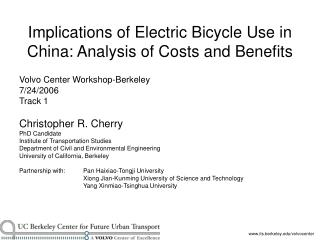 Ramifications of Electric Bicycle Use in China: Analysis of Costs ...
