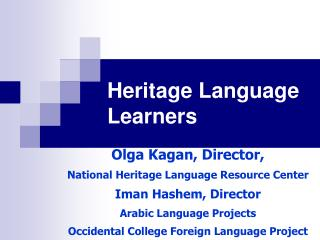 Legacy Language Learners