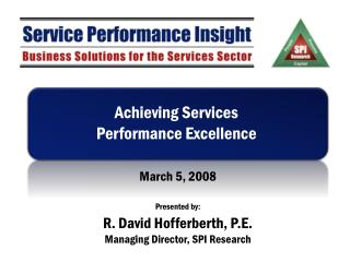Accomplishing Services Performance Excellence