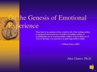 On the Genesis of Emotional Experience