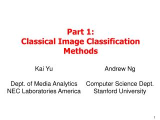 Section 1: Classical Image Classification Methods