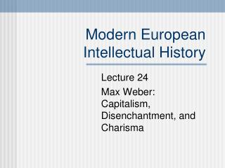 Current European Intellectual History