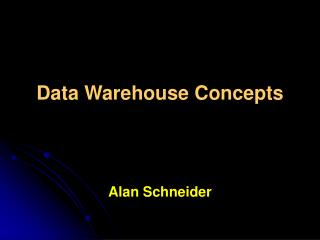 Information Warehouse Concepts