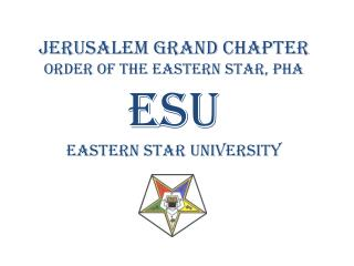 Jerusalem Grand Chapter Order of the Eastern Star, PHA