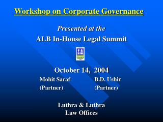 Workshop on Corporate Governance