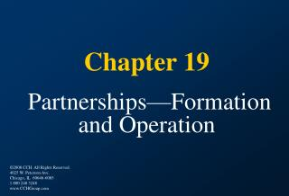 Section 19 Partnerships Formation and Operation