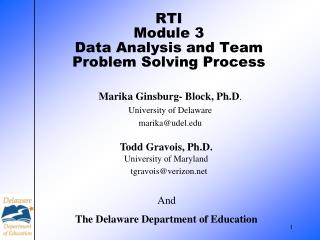 RTI Module 3 Data Analysis and Team Problem Solving Process