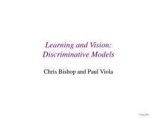 Learning and Vision: Discriminative Models