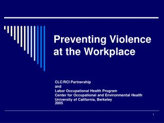 Anticipating Violence at the Workplace