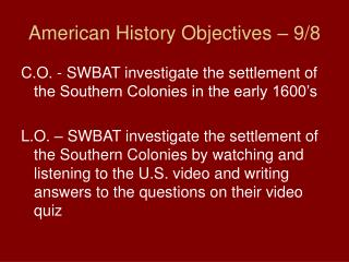 American History Objectives 9