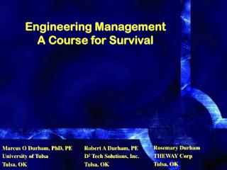 Building Management A Course for Survival