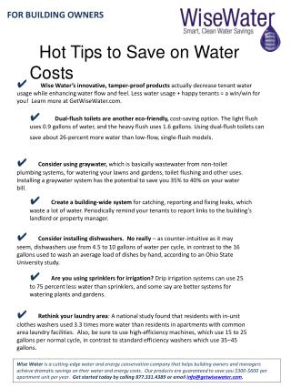 Hot Tips to Save on Water Costs