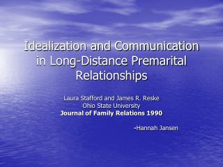 Admiration and Communication in Long-Distance Premarital Relationships