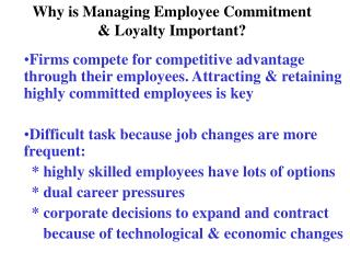 Why is Managing Employee Commitment Loyalty Important