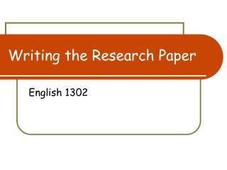 Composing the Research Paper