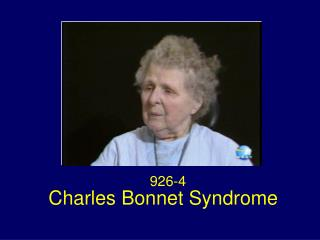 Charles Bonnet Syndrome