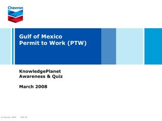Bay of Mexico Permit to Work PTW