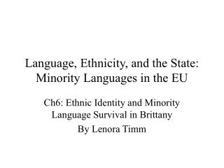 Dialect, Ethnicity, and the State: Minority Languages in the EU