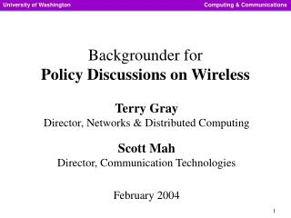 Backgrounder for Policy Discussions on Wireless