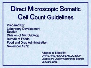 Direct Microscopic Somatic Cell Count Guidelines
