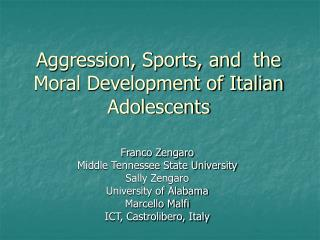 Animosity, Sports, and the Moral Development of Italian Adolescents