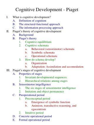 Intellectual Development - Piaget