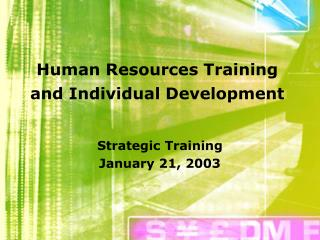 HR Training and Individual Development