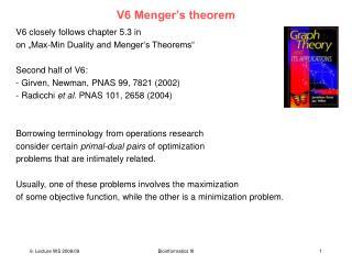 V6 Menger s hypothesis