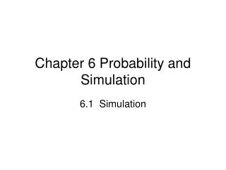 Part 6 Probability and Simulation