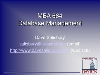 MBA 664 Database Management