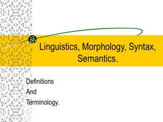 Phonetics, Morphology, Syntax, Semantics.