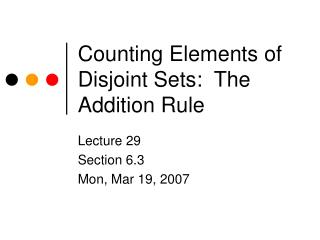 Checking Elements of Disjoint Sets: The Addition Rule