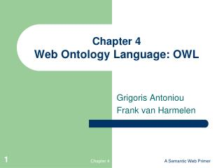Part 4 Web Ontology Language: OWL