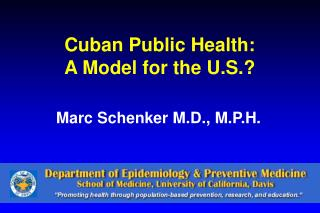Cuban Public Health: A Model for the U.S.