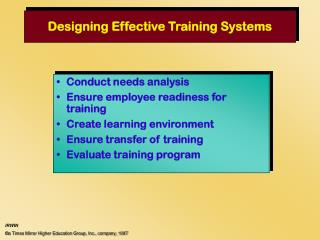 Outlining Effective Training Systems