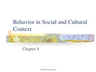 Conduct in Social and Cultural Context