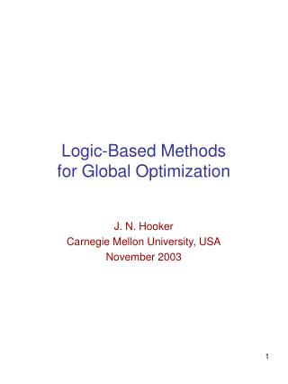 Rationale Based Methods for Global Optimization