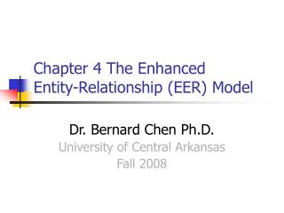 Part 4 The Enhanced Entity-Relationship EER Model