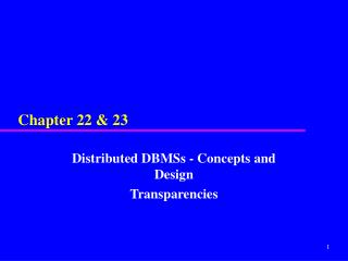 Disseminated DBMSs - Concepts and Design Transparencies