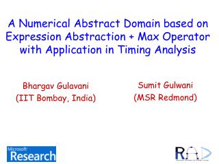 A Numerical Abstract Domain in light of Expression Abstraction Max Operator with Application in Timing Analysis