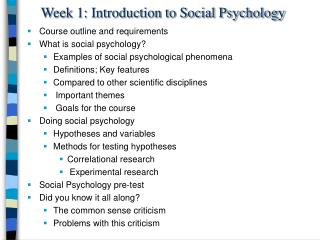 Week 1: Introduction to Social Psychology
