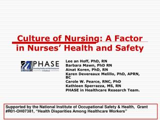 Society of Nursing: A Factor in Nurses Health and Safety