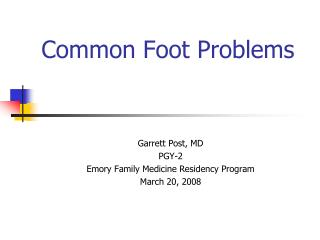 Basic Foot Problems