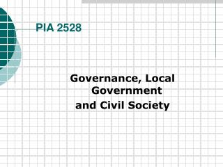 Administration, Local Government and Civil Society