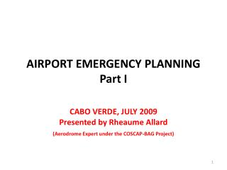 Air terminal EMERGENCY PLANNING Part I