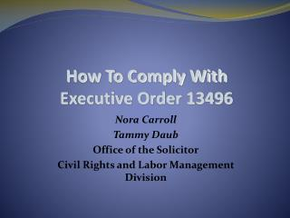 The most effective method to Comply With Executive Order 13496