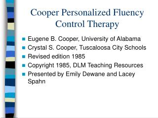 Cooper Personalized Fluency Control Therapy