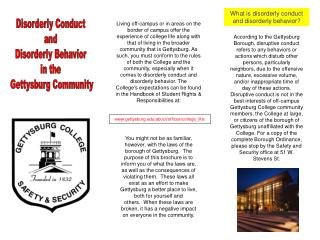 Untidy Conduct and Disorderly Behavior in the Gettysburg Community