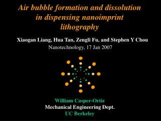 Air bubble development and disintegration in apportioning nanoimprint lithography