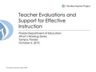 Instructor Evaluations and Support for Effective Instruction